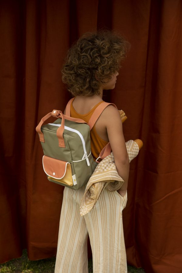 1801661 – Sticky Lemon – backpack small – wanderer – seventies green + faded orange + retro yellg